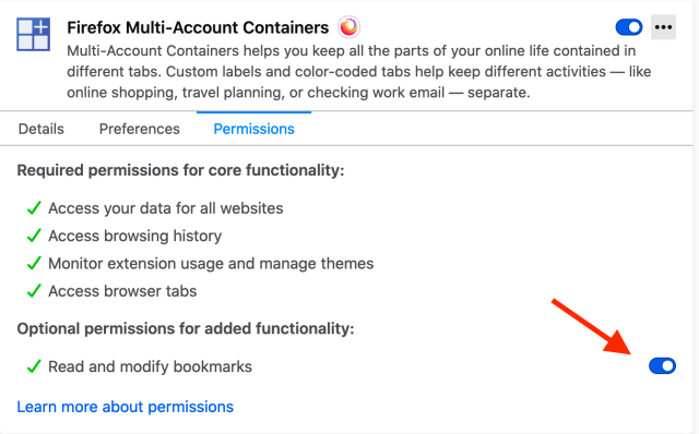 web extensions permissions dialog showing that you cna turn optional permissions on an off via the UI