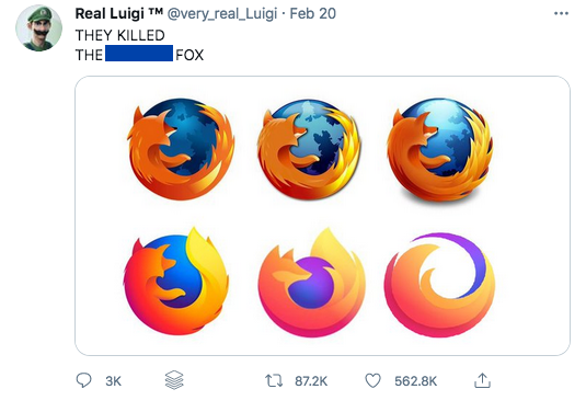 screenshot of tweet with firefox logos, including parent logo