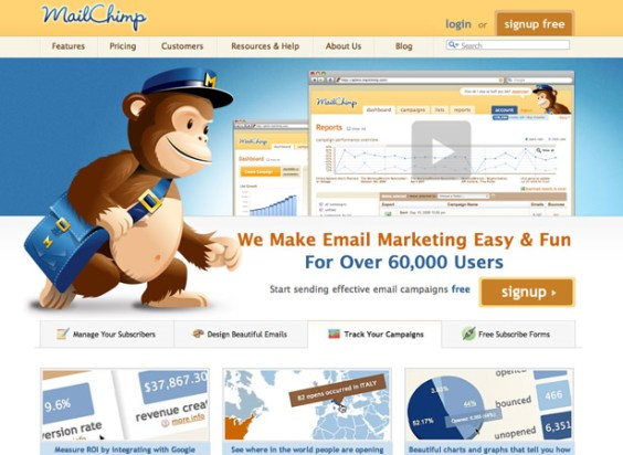 mailchimp2 50 giao diện đẹp của website doanh nghiệp