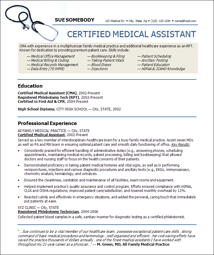 medical assistant resume template medical assistant resume samples