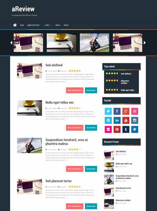 aRewiew - Tema WordPress Bootstrap gratis