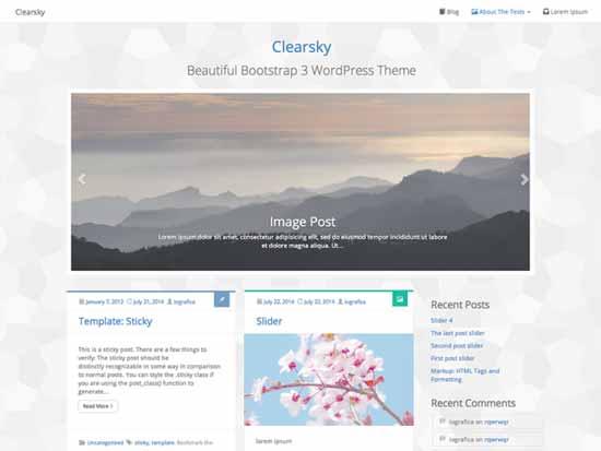 Clearsky - Tema WordPress gratuito desarrolado con la versión 3 de Bootstrap
