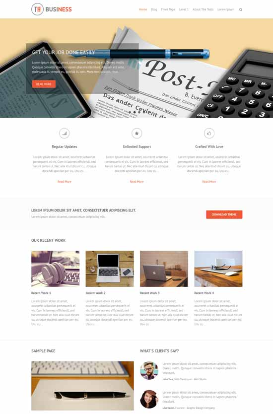 THBussines. Tema Bootstrap gratis para WordPress