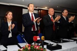 Les dirigeants du PDP, du PR et de Afek Tounes - photo (AFP)