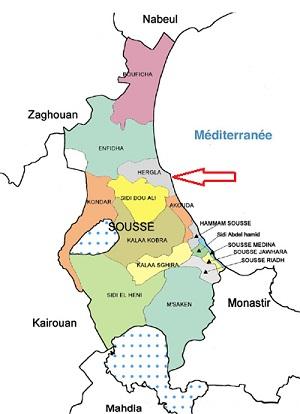 Hergla, carte du Gouvernorat de Sousse, Tunisie- photo (tunisieindustrie.nat.tn)