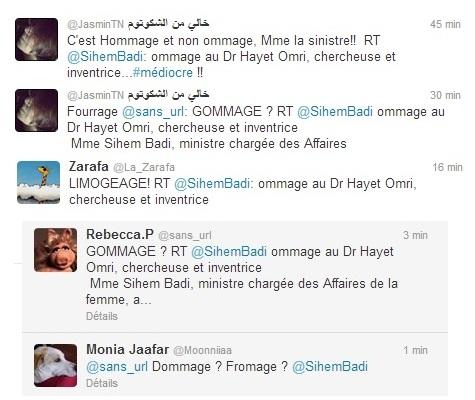 Tweets - réactions, l'Ommage de Siham Badi, 05-04-13