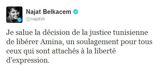 Tweet de Najet Belkacem, Amina libérée, 01-08-13