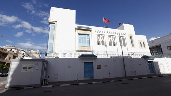 An exterior view of the Tunisian embassy is seen in Tripoli
