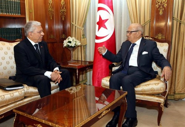 Le ministre des AE Taieb Baccouche en compagnie du président de la République Béji Caid Essebsi