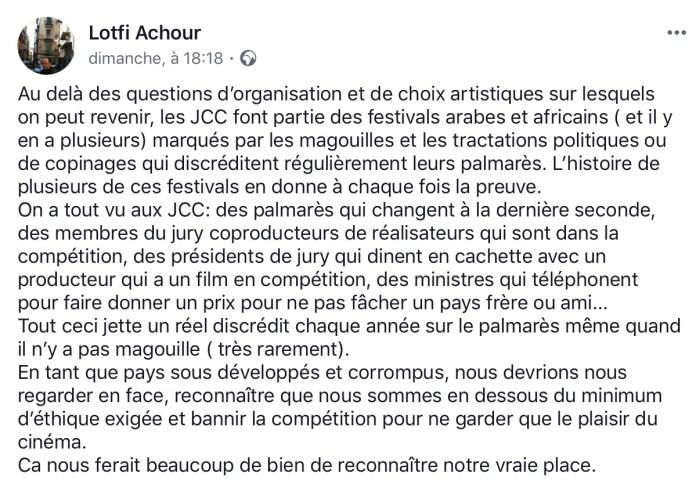 Lotfi Achour à propos du Palmarès des JCC 2018