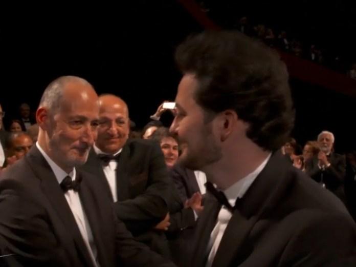 Daniel Ziskind et Abu Bakr Shawky juste après la première du film Yomeddine à Cannes