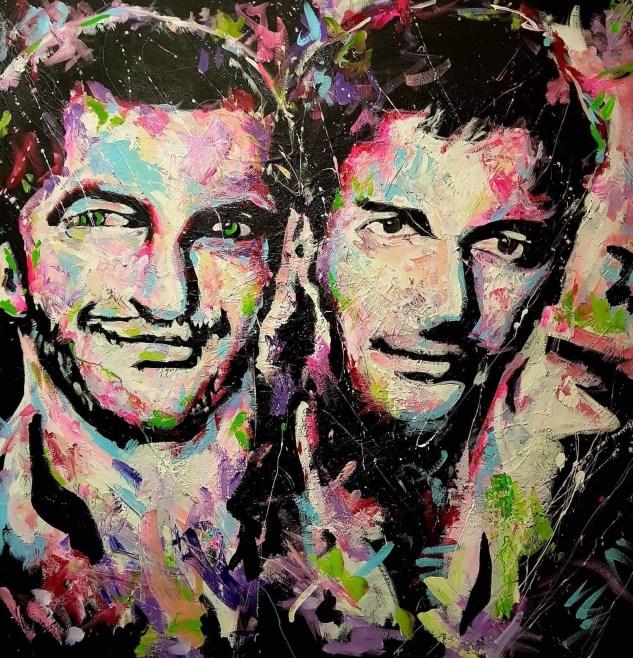 Le portrait des deux acteurs réalisé par le peintre tunisien Selmen Nahdi
