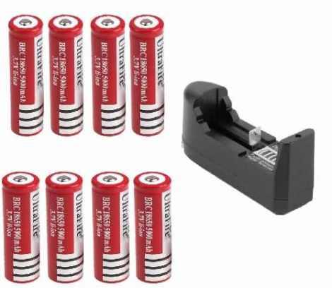 8 Baterias Brc 18650 Recargables + Cargador en Web Electro