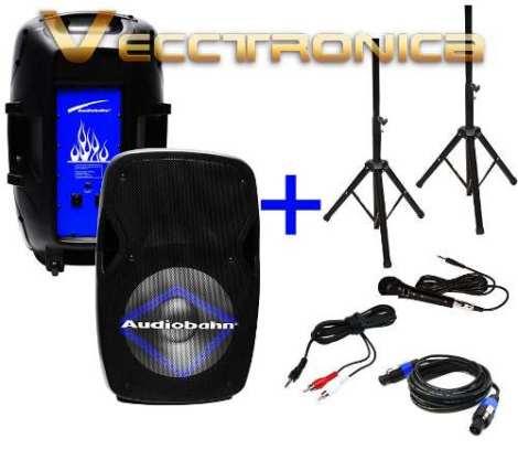 Combo De Bafles 15  Activo+pasivo Hyper Leds Azul C/regalos. en Web Electro