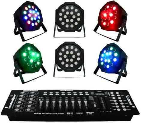 Kit 6 Luz De Leds Cañon Par64 Gratis Controlador Dmx en Web Electro