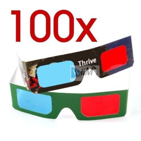 Paquete De 100 Lentes 3d Cyan Y Rojo Gafas Anteojos Idd en Web Electro