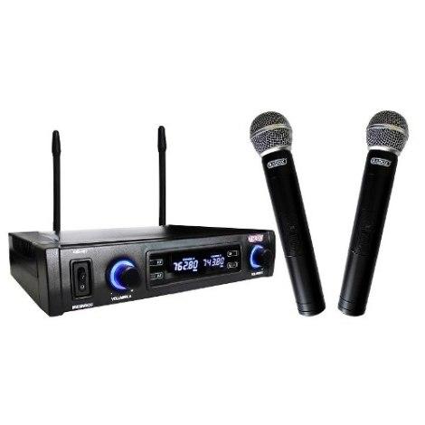 Sistema 2 Microfonos Inalambricos Uhf Pantalla Digital