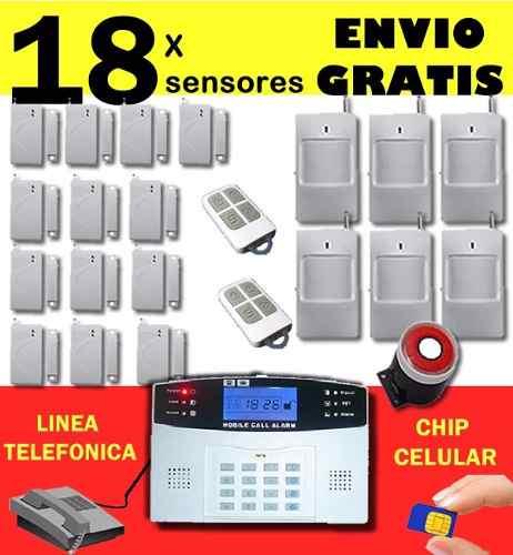 Alarma Inalambrica Casa Negocio Chip Gsm Y Linea Telefonica