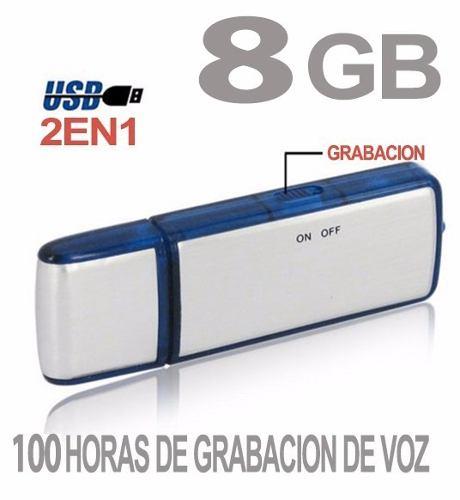 Grabadora De Voz Usb 8 Gb 100 Horas