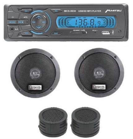 Kit Autoestereo Digital Mp3 Usb Sd 2 Bocinas 2 Tweeter
