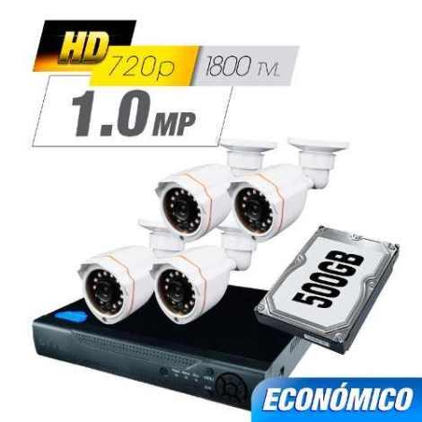Kit Cctv 4 Cámaras Ahd 1.0 Mp 1800 Tvl Dvr Digital Hdd en Web Electro
