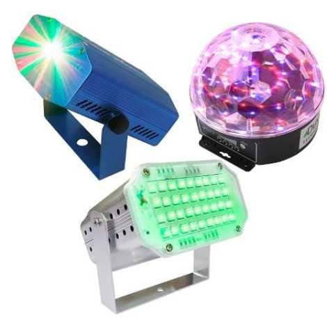 Kit Luces Disco Audio Rítmico Dj Efectos Bola Led Lasermini en Web Electro
