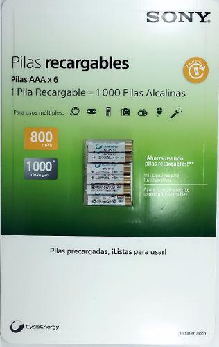6 Pilas Recargables Aaa Ni-mh Sony Cycle Energy 800 Mah en Web Electro