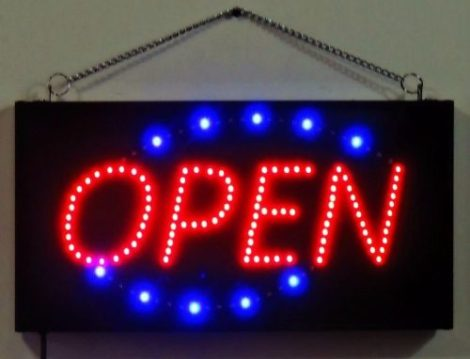 Anuncio Luminoso Led / Letrero Luminoso Open Dinámico Open en Web Electro
