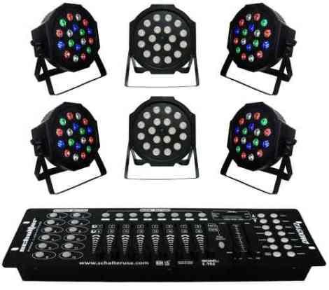 Kit 6 Luz De Leds Cañon Par64 18x1w Gratis Controlador Dmx
