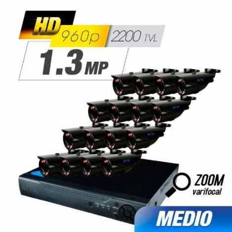 Kit Cctv 16 Cámaras Ahd Zoom Varifocal 1.3 Mp / 2200 Tvl en Web Electro