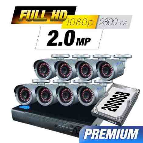 Kit Cctv 8 Cámaras Ahd 2.0 Mp 2800 Tvl Full Hd Dvr Disco Utp en Web Electro