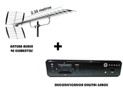 Kit Decodificador Gebox + Antena Hd Aerea 40 Elemtos 200km en Web Electro