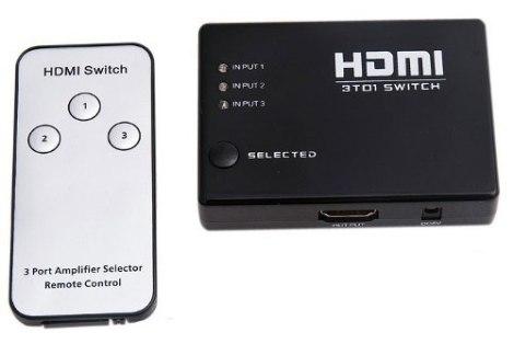 Switch Hdmi 3 Puertos Full Hd Incluye Control Remoto