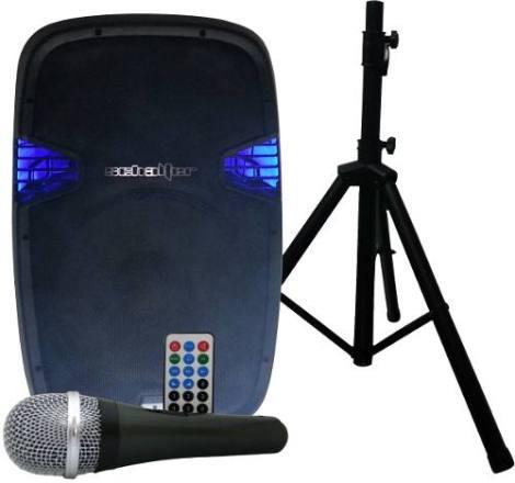Bocina Amplificada 15 Con Pedestal Y Microfono Bluetooth