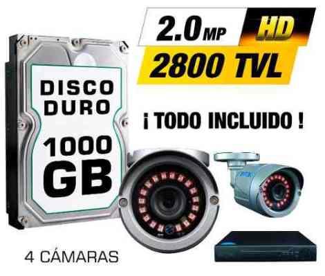 Kit Cctv 4 Cámaras Ahd 2.0 Mp 2800tvl Full Hd Dvr Disco Utp.