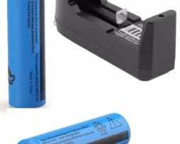 2 Baterias Brc 18650 Recargables + Cargador Genericas 3.7 V