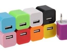 7 Cargador Pared Para Celulares Bocinas Usb Varios Colores