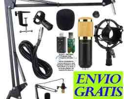 Kit Microfono Condensador Bm800 Brazo Articulado Tarjeta Usb