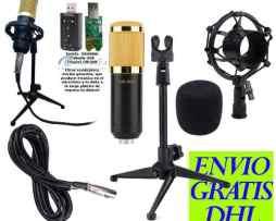 Kit Microfono Condensador Bm800 + Tripie Metal + Tarjeta Usb