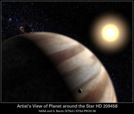 gas-giant planet orbiting the yellow Sun-like star HD 209458. Credit: G. Bacon, STScI