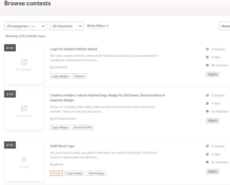 design contest listing