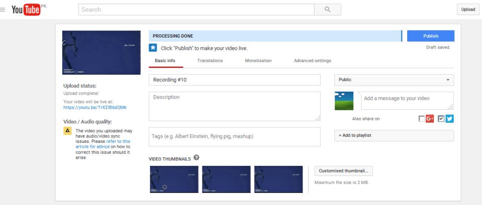 youtube publish video