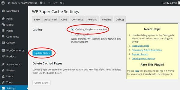 enable wp super cache