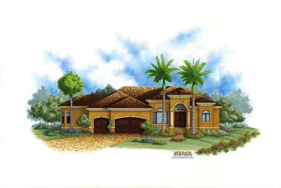 Spanish House Plans  Spanish Mediterranean Style Home Floor Plans Lido Bay II House Plan