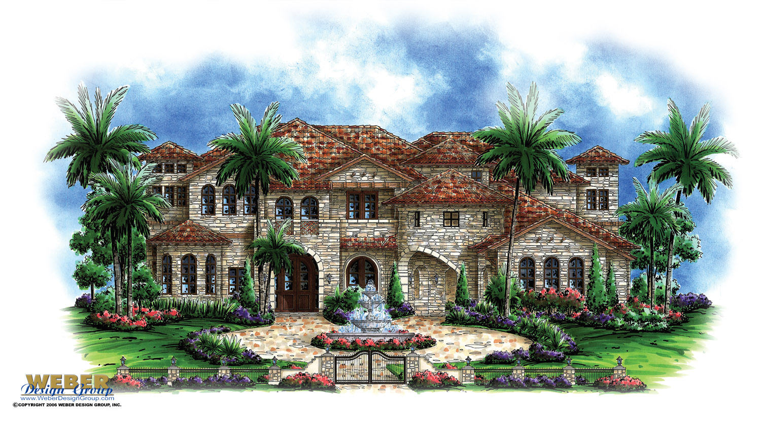 Luxury House Plan  Andalusian Castle Home Floor Plan with Tuscan Style