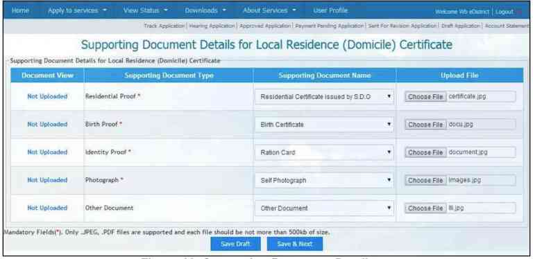 Upload documents on west bengal e-district.