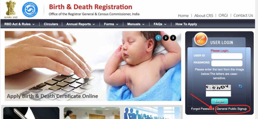 Birth and Death Registration website