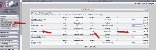 Set Forum as default home page for VBulletin