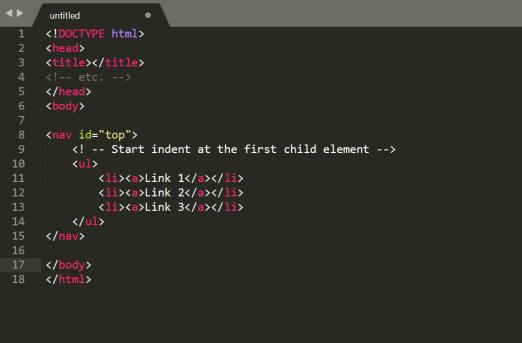 <!DOCTYPE html> <head> <title></title> <!-- etc. --> </head> <body> <nav id=