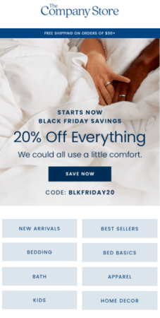 Black Friday email marketing example: The Company Store